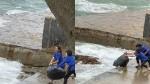 Nhân viên quán cà phê gây bức xúc khi vứt hàng chục bao rác xuống biển Vũng Tàu