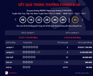 Xổ số Vietlott: Đã tìm ra chủ nhân trúng giải Jackpot hơn 315 tỷ ngày hôm qua