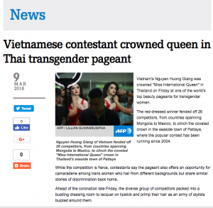 Phản ứng của truyền thông quốc tế trước chiến thắng của Hương Giang idol tại Hoa hậu Chuyển giới quốc tế 2018