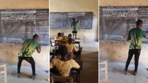 Thầy giáo dạy tin học bằng bảng phấn gây