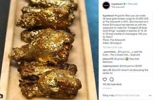 """Lạ lùng món gà """"sang chảnh"""", dát vàng 24k, giá 1.000 đô la"""