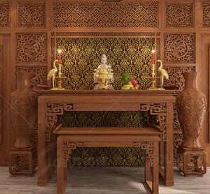Bàn thờ làm chất liệu gì, mặt gỗ thế nào để chủ nhà làm ăn may mắn, nhiều tài lộc?