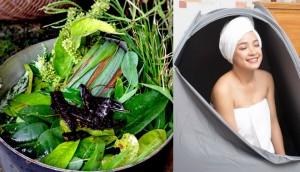Cách nấu nước lá xông cho mẹ sau sinh