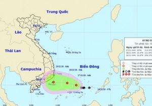 Hình thành áp thấp nhiệt đới trên Biển Đông