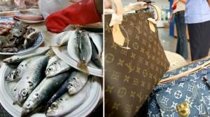 Bà ngoại dùng túi hiệu LV của cháu trai tặng để đi chợ mua cá