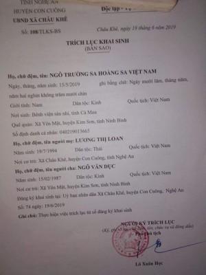 """Xôn xao cặp vợ chồng xứ Nghệ đặt tên con là """"Trường Sa Hoàng Sa Việt Nam"""""""