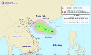 Áp thấp mạnh lên thành áp thấp nhiệt đới giật cấp 8, hướng vào vịnh Bắc Bộ