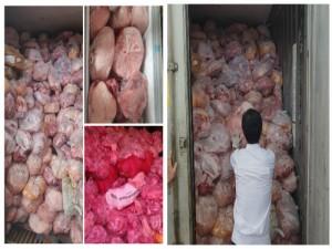 Hơn 40 tấn thịt gà, heo đông lạnh bốc mùi hôi thối được phát hiên tại cơ sở sản xuất giò chả