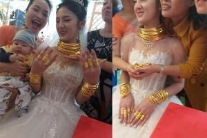 Cô dâu Cao Bằng đeo vàng kín cổ, người thân phải đi cạnh