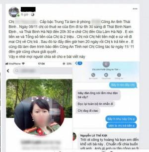 Thông tin bất ngờ nữ trung tá Công an Thái Bình bị tố