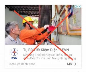 Cảnh báo giả mạo thương hiệu EVN quảng cáo thiết bị tiết kiệm điện