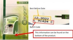 Chất tạo ngọt Cologran Stevia bị thu hồi vì có chứa phụ gia thực phẩm không được công bố trên nhãn
