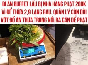 Thực khách bị phạt 200.000 đồng vì bỏ ăn rau