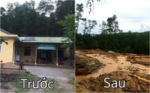 Hình ảnh hàng tấn đất đá vùi lấp khu nhà điều hành thủy điện Rào Trăng 3