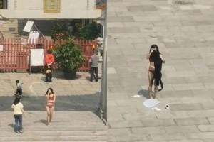 Dân mạng truy tìm cô gái mặc nội y quỳ lạy trước chùa