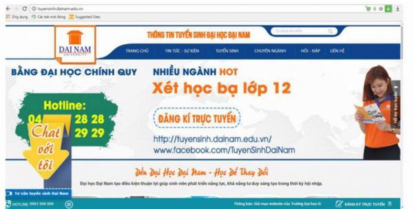 Đại học Đại Nam bị làm giả website