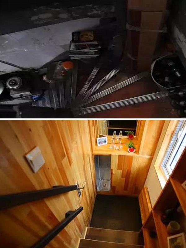 Cầu thang từ cửa chính dẫn vào sáng sủa hơn hẳn nhờ cửa sổ nhỏ ngập sáng.
