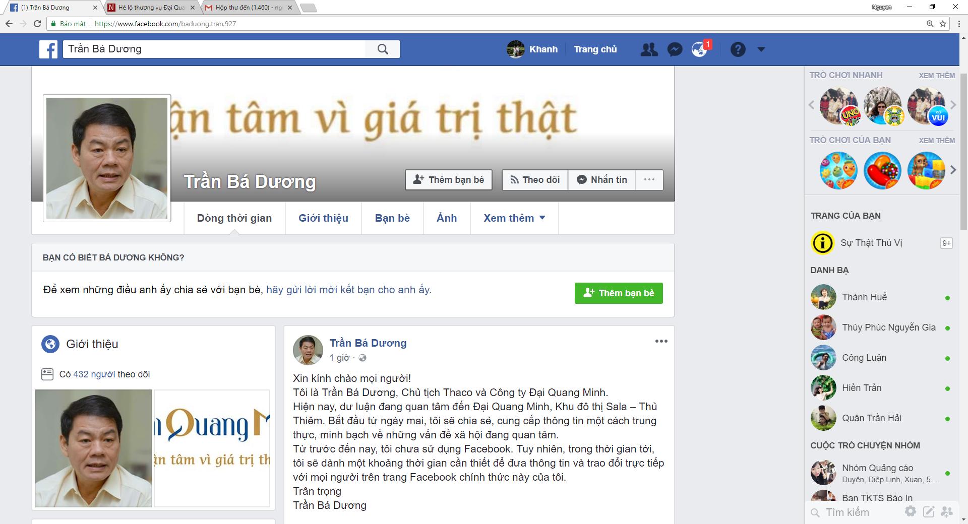 Facebook của ông Trần Bá Dương bị đánh sập sau khi lập 90 phút