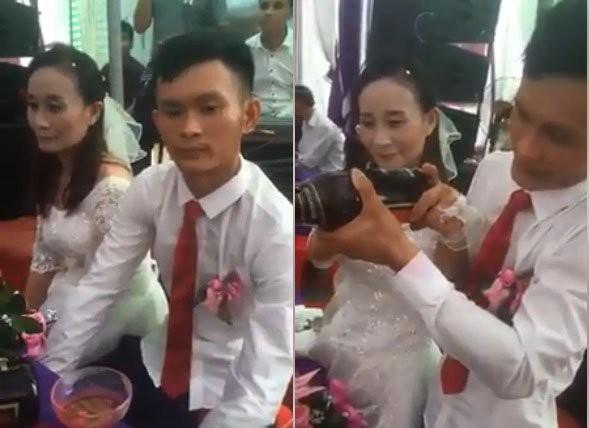 Hình ảnh trong đám cưới của chú rể Đại Vệ, cô dâu Hiền Lương. Ảnh cắt từ clip.