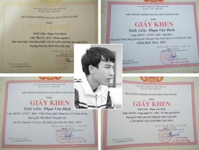 Phạm Văn Đình (ảnh nhỏ) là sinh viên xuất sắc với nhiều bằng khen giấy khen. Ảnh: PV