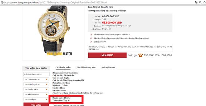 Mập mờ về nguồn gốc các sản phẩm đồng hồ Đăng Quang Watch