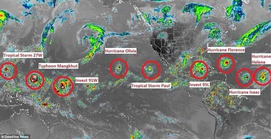 Daily Mail ngày 12-9 chia sẻ loạt ảnh vệ tinh cho thấy nhiều khu vực trên khắp thế giới đang đối mặt với các cơn bão mạnh.