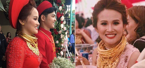 Cô dâu Hậu Giang 'trĩu cổ' đeo 129 cây vàng được trao làm của hồi môn
