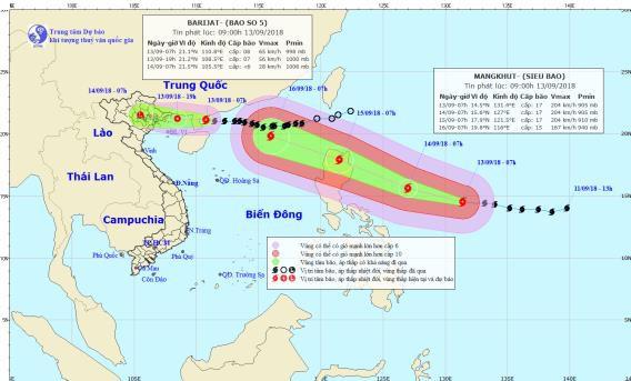 Vị trí và đường đi của cơn bão số 5. Ảnh: NCHMF