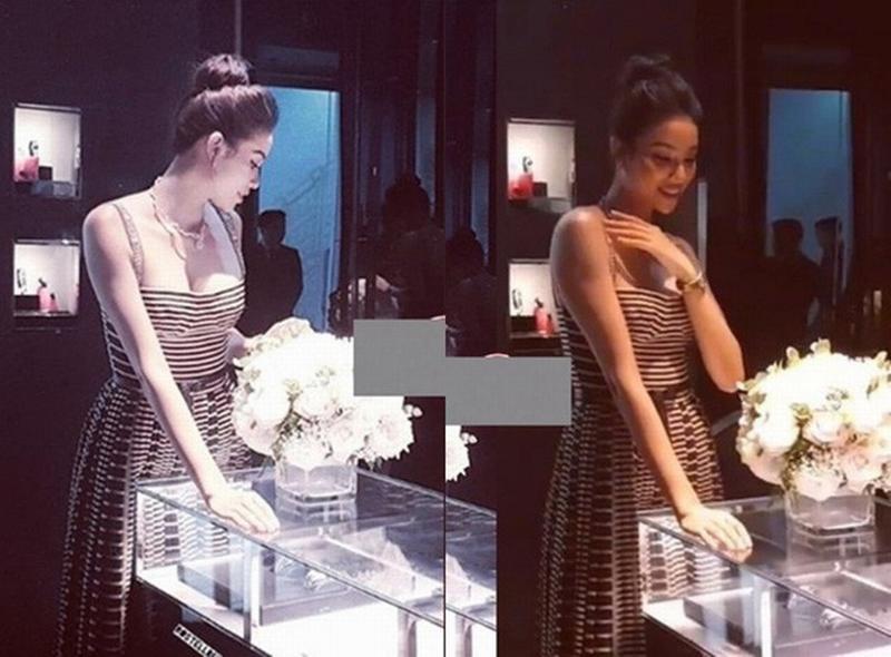 Một bức ảnh Phạm Hương chưa qua chỉnh sửa, có thể thấy vóc dáng, hay đặc biệt là vòng 2 của Phạm Hương khá đầy đặn khi diện thiết kế váy Dior này.