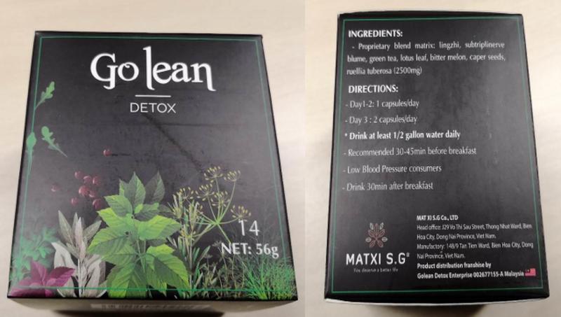 Sản phẩm giảm cân Go lean Detox chứa chất cấm gây ảo giác, khó thở?